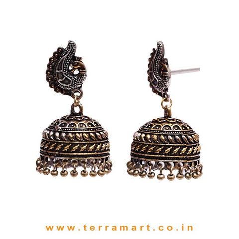 Peacock Designed 2 Tonned Black Metal Jumka Set With Metal Beads