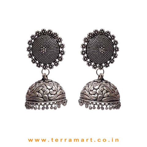 Pleasant Black Metal Grand Jumka Set With Dangling Beads