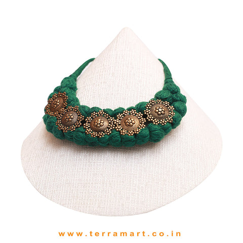 Green Colour Threaded Goldish Black Metal Necklace - Terramart Jewellery