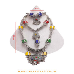 Red, Yellow, Blue & Green Coloured 3 Layer Black Metal Chain Set - Terramart Jewellery