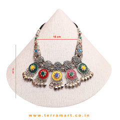Multicolour Exquisite Black Metal Necklace Set - Terramart Jewellery