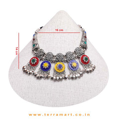Exquisite Multicolour Oxidized Black Metal Necklace Set - Terramart Jewellery