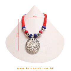 Red & Blue Colour Threaded Lakshmi Designed Oxidized Black Metal Necklace - Terramart Jewellery