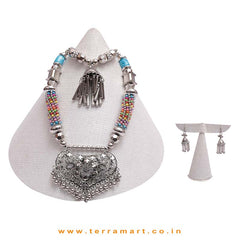 Fantastic Multicoloured Black Metal Chain Jewel Set - Terramart Jewellery