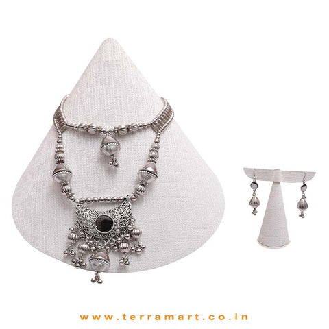 Fantastic Oxidized Black Metal Chain  Jewel Set - Terramart Jewellery