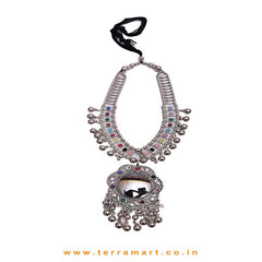 Colourful Oxidized Black Metal Chain Set With Black Mirror - Terramart Jewellery