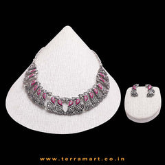 Impressive Peacock Black Metal Necklace Set With Pink Colour Enamel - Terramart Jewellery