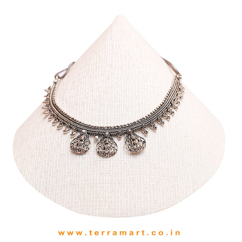 Good-looking Lord Lakshmi Designed Black Metal Temple Necklace - Terramart Jewellery