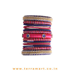 Silk Thread Bridal Bangle Collection In Navy Blue, Dark Pink & Gold With Stones - Terramart Jewellery