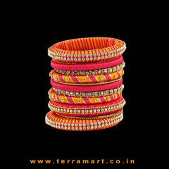 Mango Yellow, Pink & Gold Handmade Silk Thread Bangle Collection With Stones - Terramart Jewellery