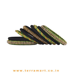 Parrot Green, Black & Gold Handmade Silk Thread Bangle Collection With Stones - Terramart Jewellery
