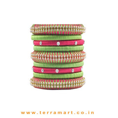 Exclusive Pink & Parrot Green Handmade Silk Thread Bangle Collection With Stones - Terramart Jewellery