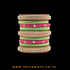Exclusive Pink & Parrot Green Handmade Silk Thread Bangle Collection With Stones