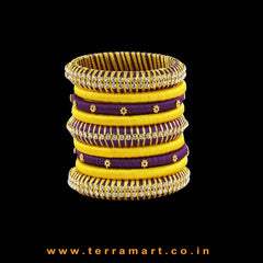 Exclusive Violet & Yellow Handmade Silk Thread Bangle Collection With Stones - Terramart Jewellery