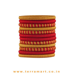 Pleasant Red & Gold Silk Thread Bangle Collections With Checks - Terramart Jewellery