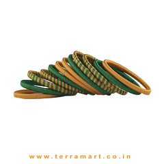 Pleasant Dark Green & Gold Silk Thread Bangle Collections With Checks - Terramart Jewellery