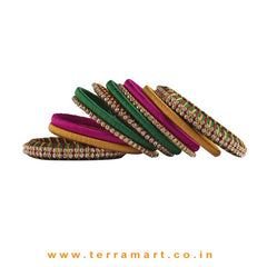 Pleasant Multicolour Silk Thread Bangle Collections With Stones - Terramart Jewellery