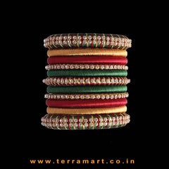 Party Wear Multicolour Silk Thread Bangle Collections With Stones - Terramart Jewellery