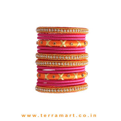 Gorgeous Orange, Pink & Gold Colour Handmade Silk Thread Bangle Set With Stones - Terramart Jewellery