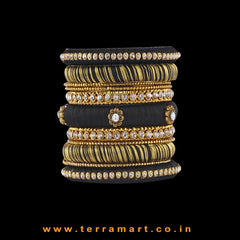 Prettiest Black & Gold Colour Silk Thread Bangle Set With Metal Bangles & Stones - Terramart Jewellery