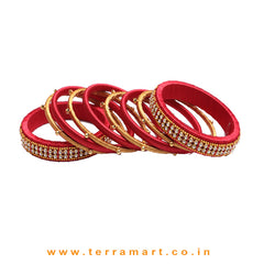 Prettiest Red & Gold Colour Silk Bangle Set With Beaded Metal Bangles & Stones - Terramart Jewellery