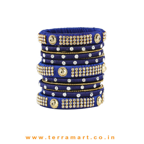 Charming Navy Blue Colour Silk Thread Grand Bangle Set With Stones - Terramart Jewellery