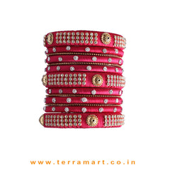 Charming Pink Colour Silk Thread Grand Bangle Set With Stones