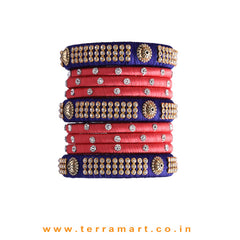 Charming Navy Blue & Tomato Pink Colour Silk Thread Grand Bangle Set With Stones - Terramart Jewellery