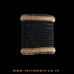 Simple & Nice Silk Thread Bangle Collections In Black With 2 Layer Stones - Terramart Jewellery