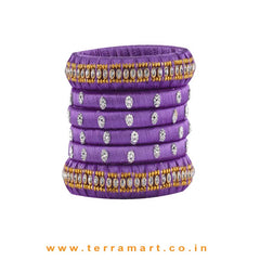 Delightful Violet Colourd Silk Thread Bangle Set with Stone