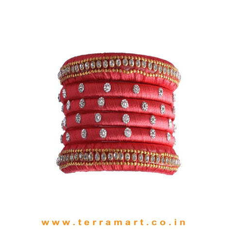 Delightful Tomato Pink & Gold Color Silk Thread Bangle Set with Stones
