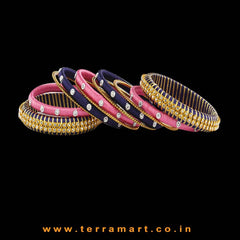 Impressive Navy Blue, Pink & Gold Colour Silk Thread Bangle With Stones - Terramart Jewellery