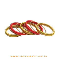 Trendy Olive Green, Red & Gold Colour Silk Thread Bangles - Terramart Jewellery