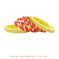 Exquisite Yellow, Red & Gold Colour Silk Thread Bangle With Stones - Terramart Jewellery