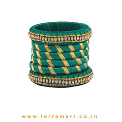 Exquisite Dark Green & Gold Colour Silk Thread Bangle With Stones