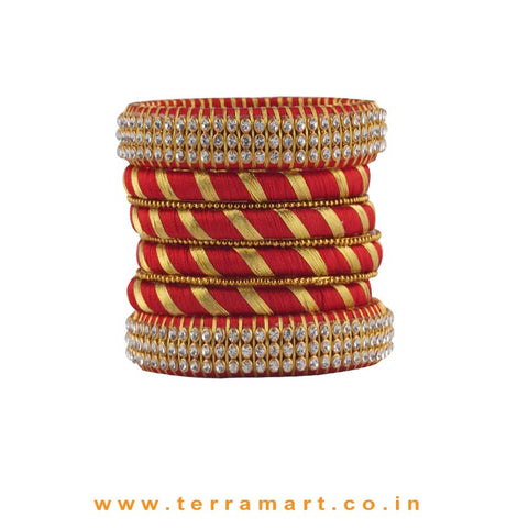 Exquisite Maroon & Gold Colour Silk Thread Bangle With Stones - Terramart Jewellery