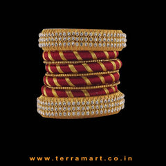 Exquisite Gold & Maroon Colour Silk Thread Bangle With Stones
