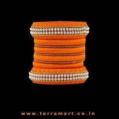 Neat Orange Colour Silk Thread & Metal Bangles With Pearl