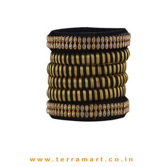Fabulous Black & Gold Double Colour Silk Thread Bangles