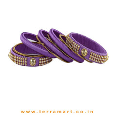 Plain Tidy  Lavender & Gold Colour Thick n Broad Silk Thread Bangles With Stones - Terramart Jewellery