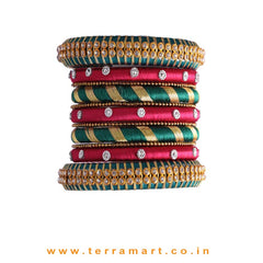 Fine Designed Dark Green, Pink & Gold Colour Silk Thread Bangle Set With Stones - Terramart Jewellery