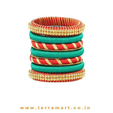 Beautiful Red, Dark Green & Gold Colour Silk Thread Bangles - Terramart Jewellery