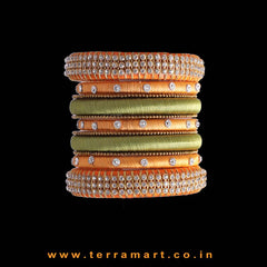 Artistic Orange, Olive Green & Gold Colour Silk Thread Bangle With Stones - Terramart Jewellery