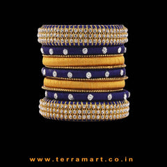 Artistic Navy Blue & Gold Colour Silk Thread Bangle With Stones