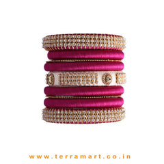 Attracting Purple, White & Gold Colour Silk Thread Bangles With Stones - Terramart Jewellery