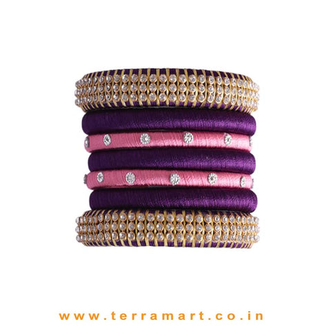 Extraordinary Coloured Violet, Pink & Gold Silk Thread Bangles With Stones - Terramart Jewellery