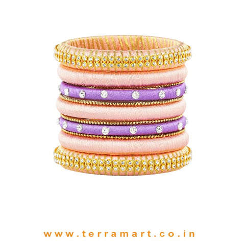 Extraordinary Coloured Baby Pink, Lavender & Gold Silk Thread Bangles With Stones