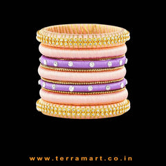 Extraordinary Coloured Baby Pink, Lavender & Gold Silk Thread Bangles With Stones - Terramart Jewellery
