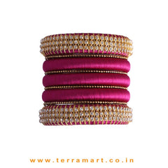 Captivating Purple & Gold Colour Silk Thread Bangle Set With Stones - Terramart Jewellery