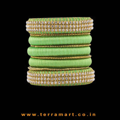 Captivating Parrot Green & Gold Colour Silk Thread Bangle Set With Stones - Terramart Jewellery